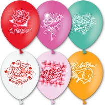 """Латексные шары круглые с рисунком 1103-0083 шар с рисунком 12"""" с любовью 1"""