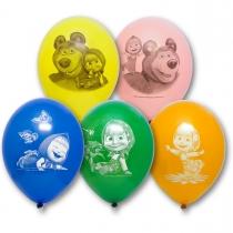 Латексные шары круглые  1111-0637 рис Маша и Медведь 30см