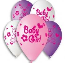 """Латексные шары круглые 1103-3131 Шар 12"""" с рисунком Baby Girl/Ит"""