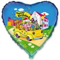 """Фольгированные шары с рисунком 1202-0370 ф 18"""" hb друзья в автомобиле(fm)"""