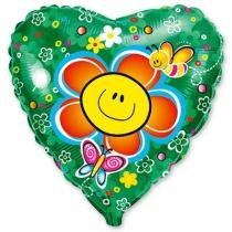 """Фольгированные шары с рисунком 1202-1090 ф 18"""" цветок улыбка/fm"""