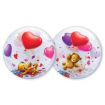 """Фольгированные шары с рисунком 1202-1662 п bubble 22"""" мишка плюшевый с шарами"""