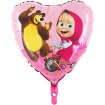 """Фольгированные шары 1202-2162 Г 18"""" Маша и Медведь в сердце"""