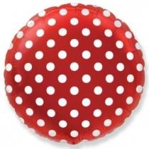 """Фольгированные шары 1202-2168 Ф 18"""" Горошек на красном/FM"""