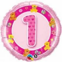 """Фольгированные шары 1202-3028 П 18"""" Круг розовый """"1"""" (QL)"""