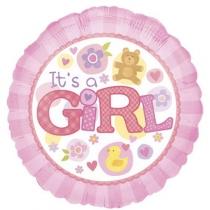 """Фольгированные шары с рисунком 1202-3049 а 18"""" это девочка на розовом круге s40"""