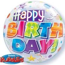 """Фольгированные шары с рисунком 1202-3169 п bubble 22"""" hb звезды и спирали"""
