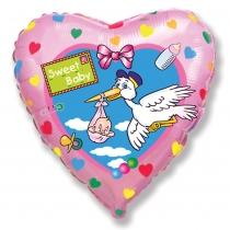 """Фольгированные шары с рисунком 1202-3234 ф 18"""" аист """"sweet baby""""/fm"""
