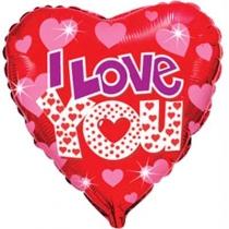 """Фольгированные шары с рисунком 1202-3239 ф 18"""" ily сердца яркие/fm"""