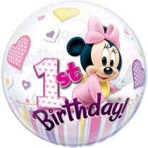 """Фольгированные шары с рисунком 1202-3274 п bubble 22"""" минни маус 1-й день рождения"""