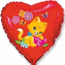 """Фольгированные шары 1202-3282 Ф 18"""" Сердце Влюбленный котенок/FM"""