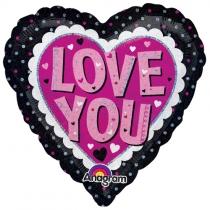 """Фольгированные шары с рисунком 1202-3323 а 18"""" ily сердце черно-розовое s55"""