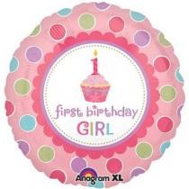 """Фольгированные шары 1202-3411 А 18"""" Кекс 1-й день рождения девочки"""