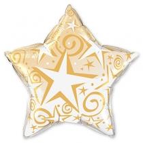 """Фольгированные шары с рисунком 1203-0132 п 36"""" звезда звезды со спиралями зол(ql)"""
