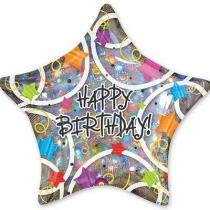 Фольгированные шары с рисунком 1203-0247 а джамбо hb звезды разноцветные p45