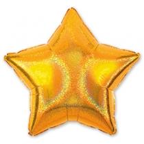 """Фольгированные шары без рисунка 1205-0021 а блеск 19""""без рис звезда золотая s55"""