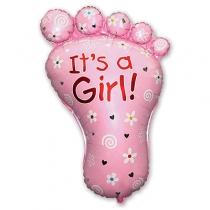 Фольгированные шары большие фигуры 1207-1423 ф фигура/11 стопа девочки розовая/fm