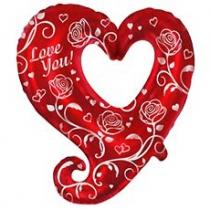 Фольгированные шары большие фигуры 1207-2060 ф фигура/12 love you cердце с розами/fm