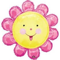 Фольгированные шары 1207-3303 А ФИГУРА Цветочек-солнышко розовое