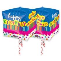 """Фольгированные шары с рисунком 1209-0045 а 3d куб 15"""" hb торт праздничный g20"""