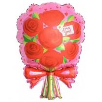 Шар (28''/71 см) Фигура, Букет роз, Розовый, 1 шт.