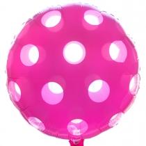 """Фольгированные шары 3202-0044 А 18"""" Круг розовый в горошек"""