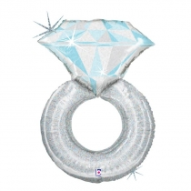 Фольгированные шары 3207-1139 Г ФИГУРА УП Обручальное кольцо белое золото голограф.