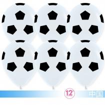 Шар (12''/30 см) Футбольный мяч, Белый, пастель, 5 ст,