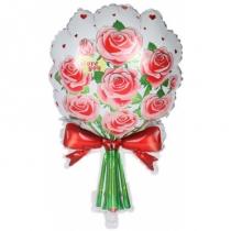 Шар (26''/66 см) Фигура, Букет роз, Красный, 1 шт.