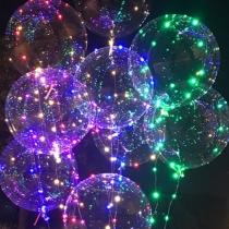 Кристально прозрачный шар с гирляндой, светящийся гелиевый с LED лампочками